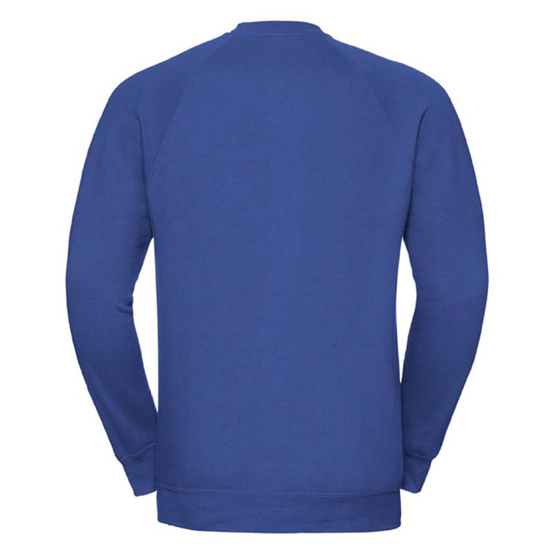 295gsm 50/50 CP Mens Classic Raglan Crew Sweat Long Sleeve - JSA762-bright-royal-back