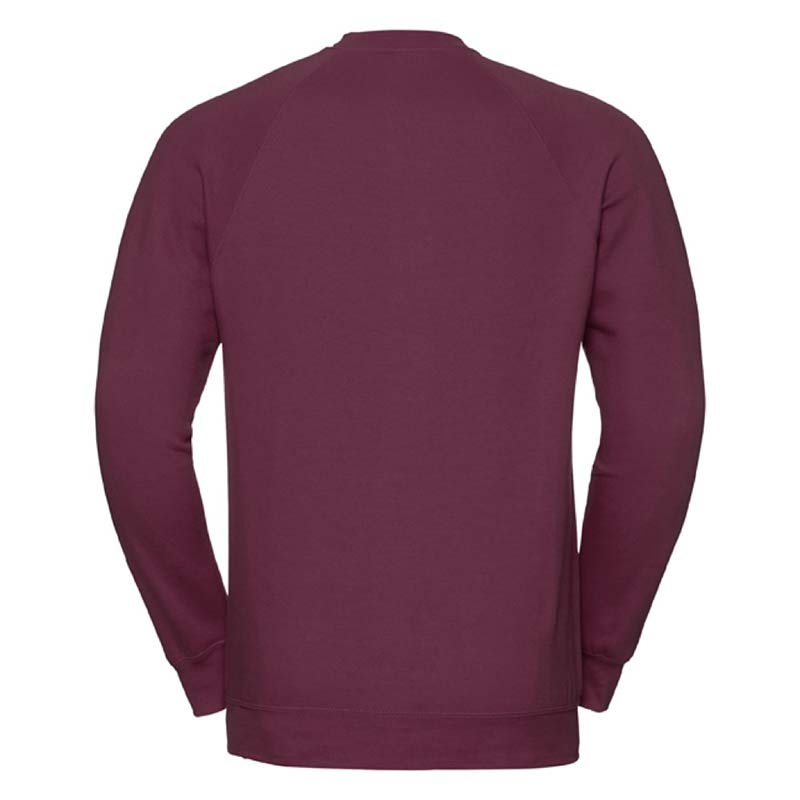 295gsm 50/50 CP Mens Classic Raglan Crew Sweat Long Sleeve - JSA762-burgundy-back