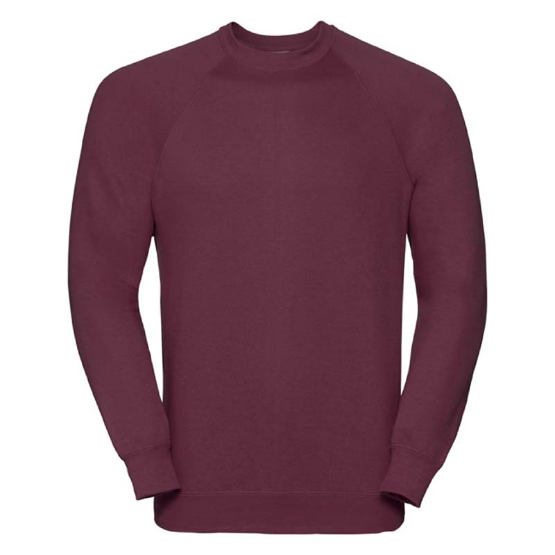 295gsm 50/50 CP Mens Classic Raglan Crew Sweat Long Sleeve - JSA762-burgundy