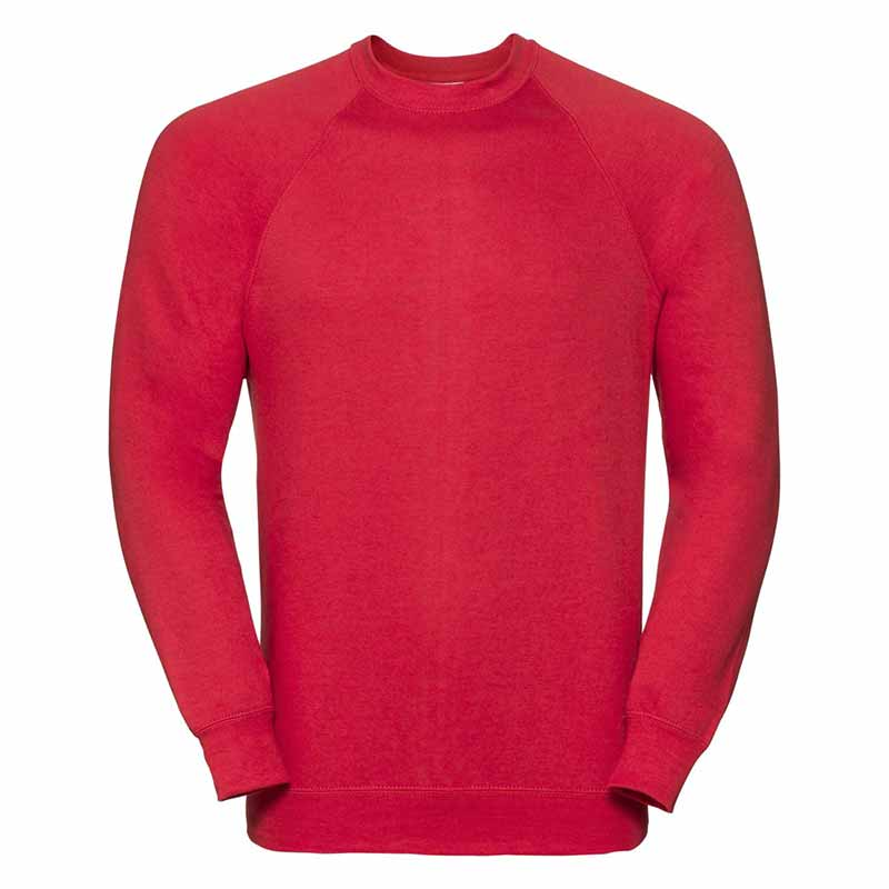 295gsm 50/50 CP Mens Classic Raglan Crew Sweat Long Sleeve - JSA762-red