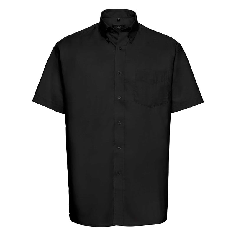 135g 70/30CP Mens Easy-Care Oxford Shirt Short Sleeve - JSHA933-black-front