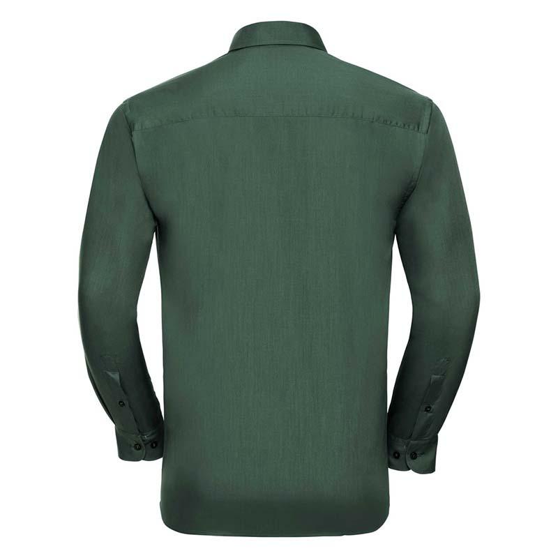 110g 65/35 PC Easy Care Poplin Shirt Long-Sleeve - JSHA934-bottle-green-back