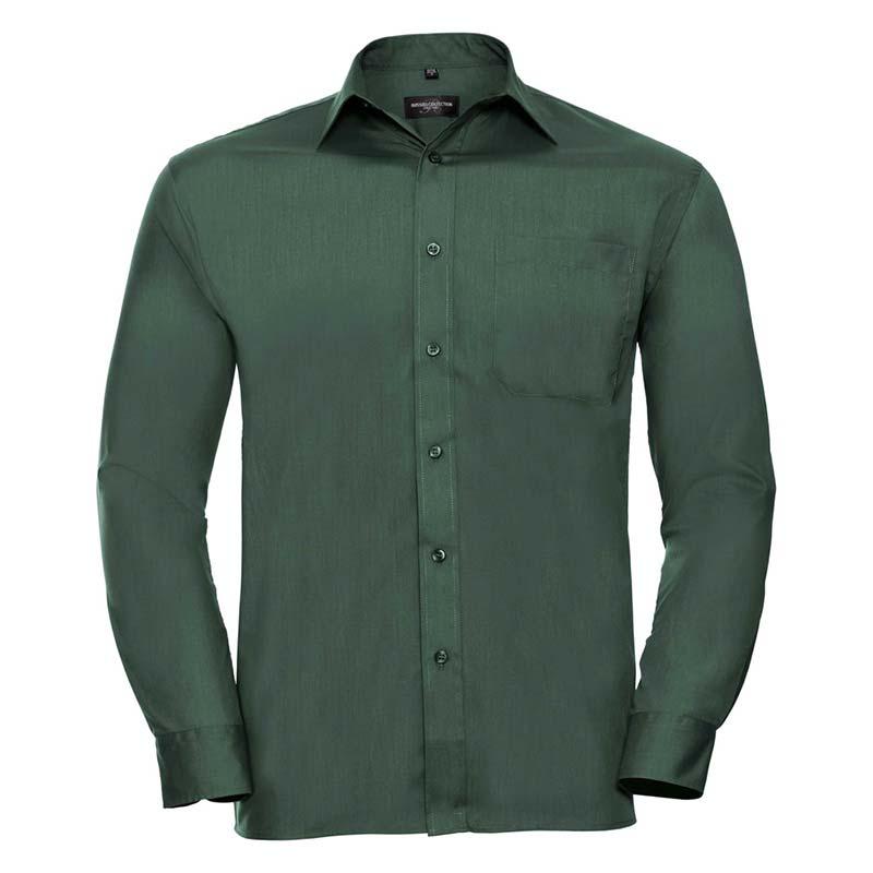 110g 65/35 PC Easy Care Poplin Shirt Long-Sleeve - JSHA934-bottle-green