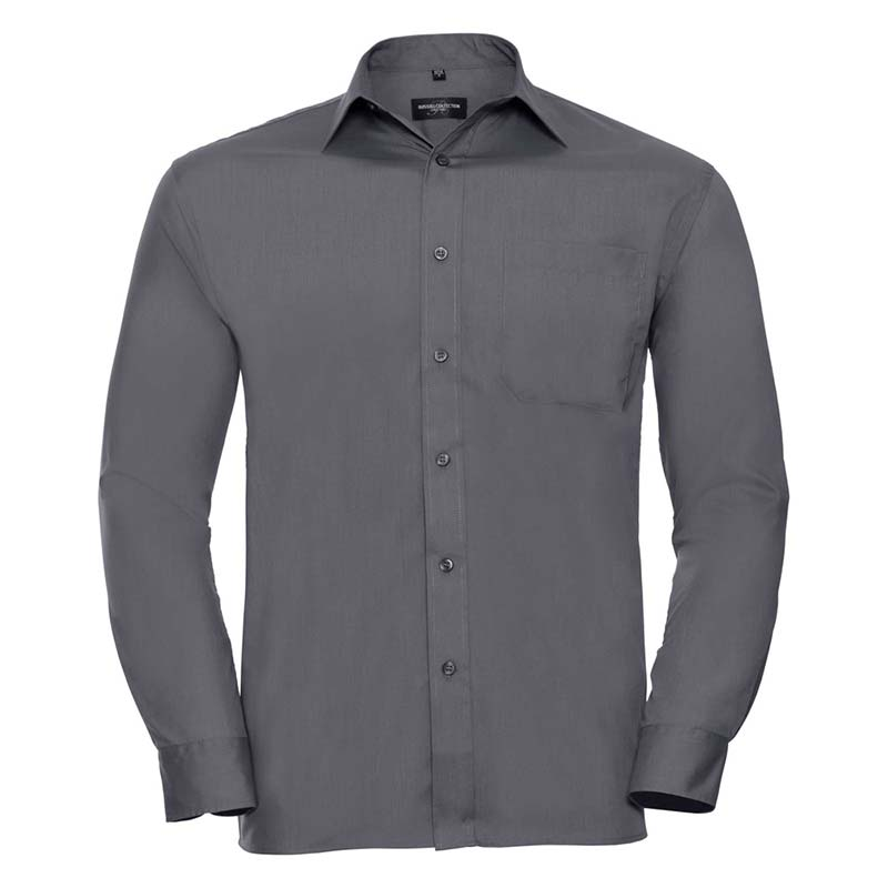 110g 65/35 PC Easy Care Poplin Shirt Long-Sleeve - JSHA934-convoy-grey