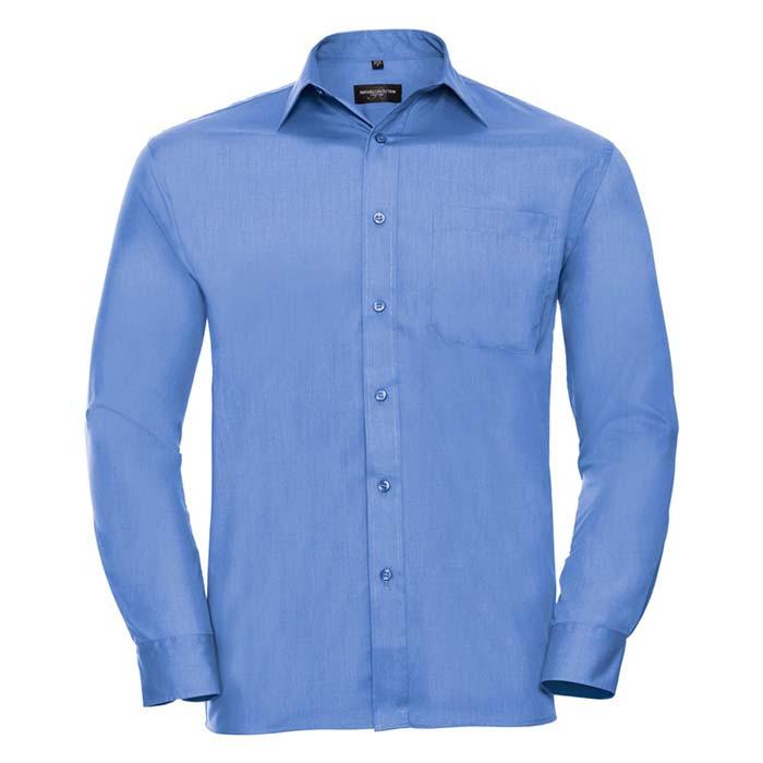 110g 65/35 PC Easy Care Poplin Shirt Long-Sleeve - JSHA934-corporate-blue