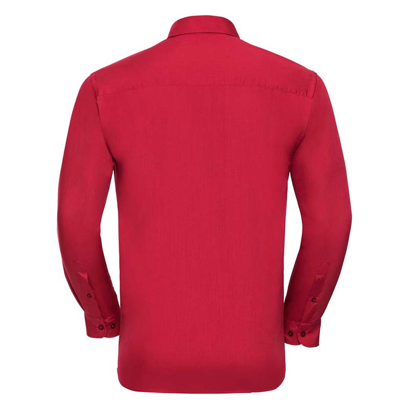 110g 65/35 PC Easy Care Poplin Shirt Long-Sleeve - JSHA934-red-back