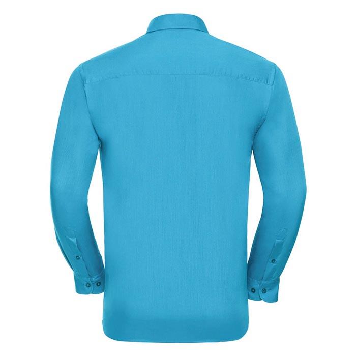110g 65/35 PC Easy Care Poplin Shirt Long-Sleeve - JSHA934-turquois-back