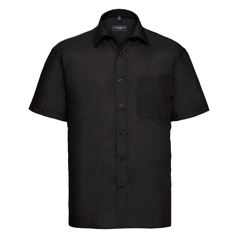 110g 65/35PC Mens Easy Care Poplin Shirt Short-Sleeve - JSHA935-black