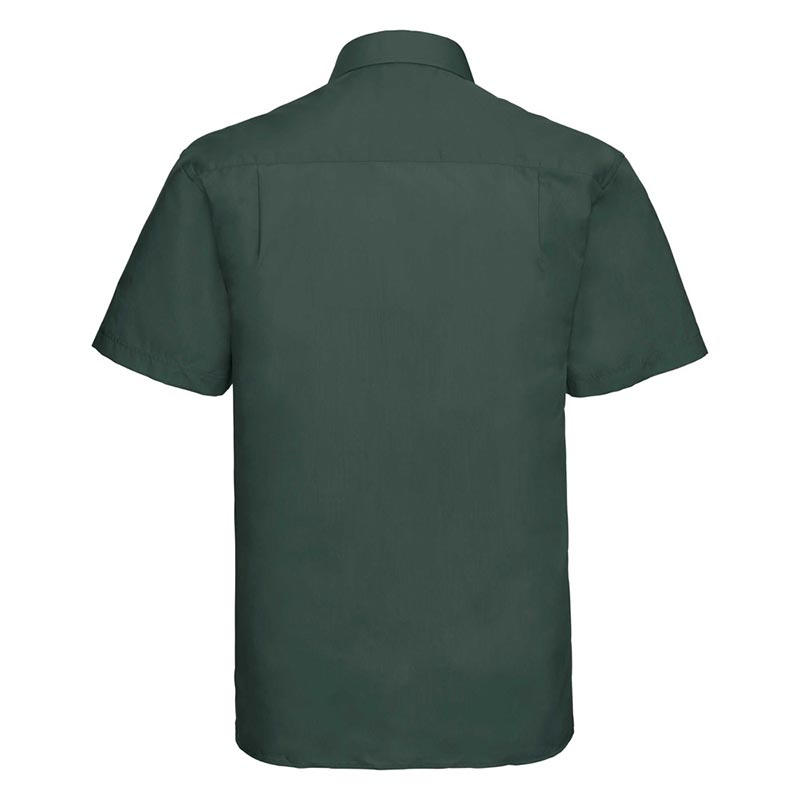 110g 65/35PC Mens Easy Care Poplin Shirt Short-Sleeve - JSHA935-bottle-green-back