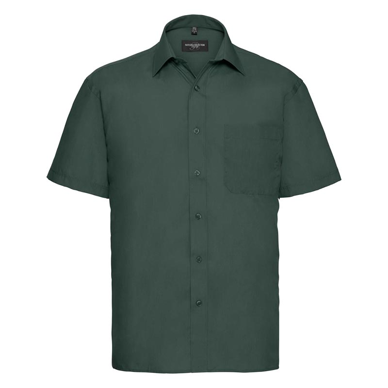 110g 65/35PC Mens Easy Care Poplin Shirt Short-Sleeve - JSHA935-bottle-green