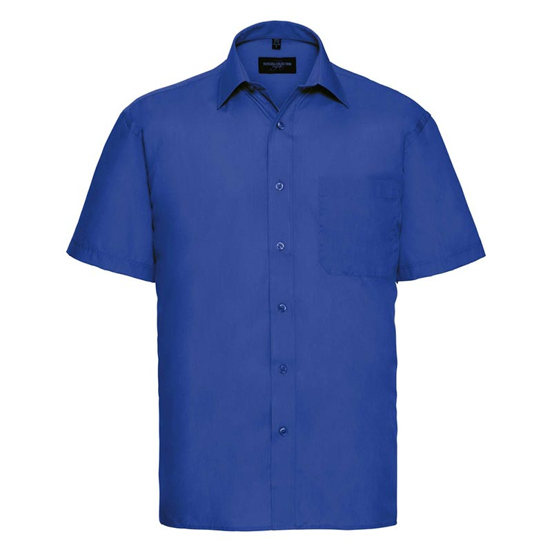 110g 65/35PC Mens Easy Care Poplin Shirt Short-Sleeve - JSHA935-bright-royal