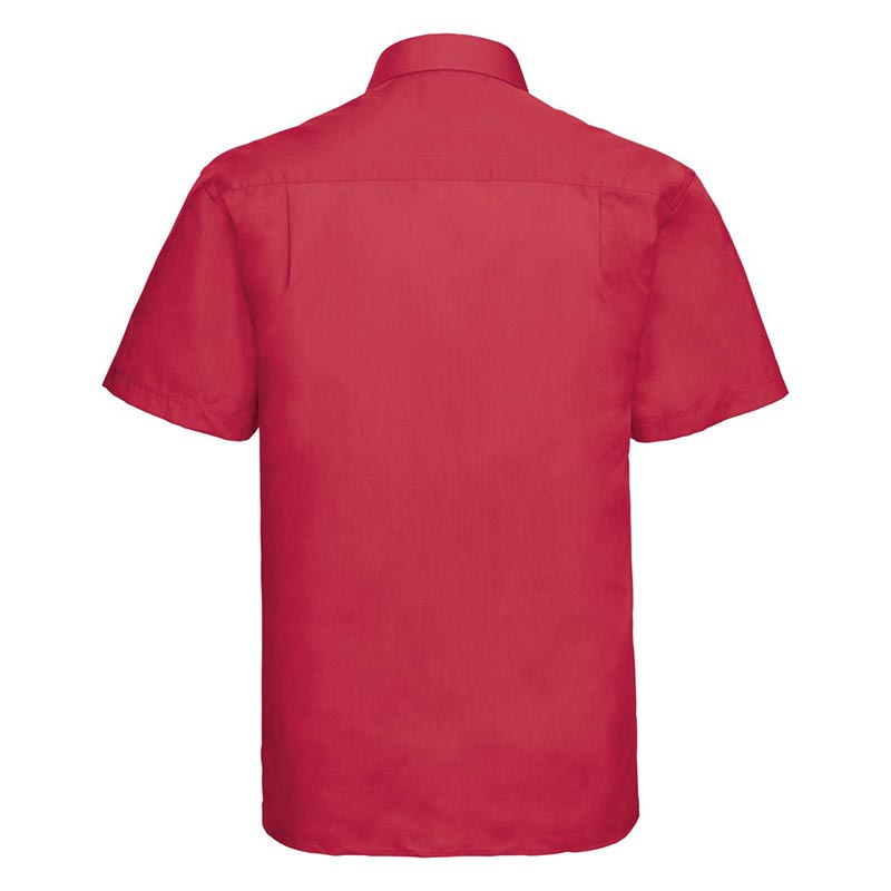 110g 65/35PC Mens Easy Care Poplin Shirt Short-Sleeve - JSHA935-classic-red-back