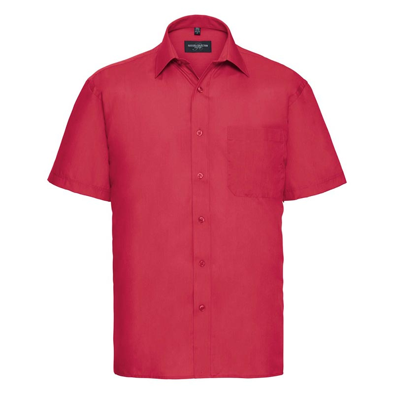 110g 65/35PC Mens Easy Care Poplin Shirt Short-Sleeve - JSHA935-classic-red