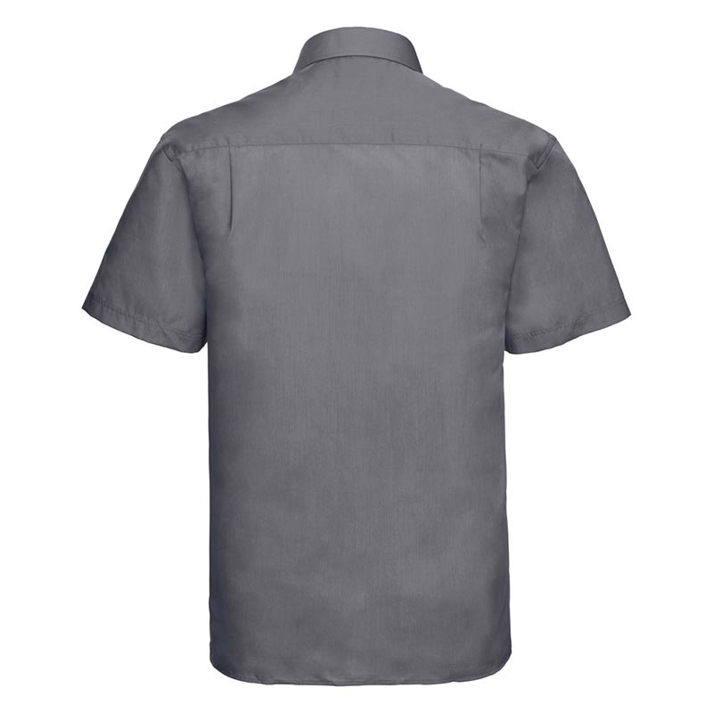 110g 65/35PC Mens Easy Care Poplin Shirt Short-Sleeve - JSHA935-convoy-grey-back