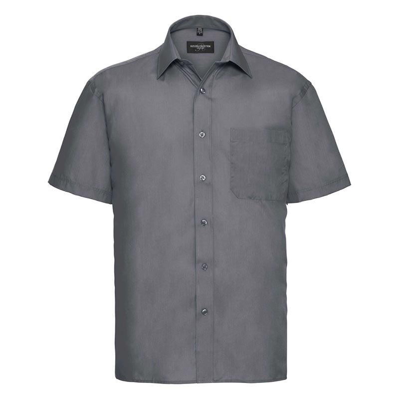 110g 65/35PC Mens Easy Care Poplin Shirt Short-Sleeve - JSHA935-convoy-grey