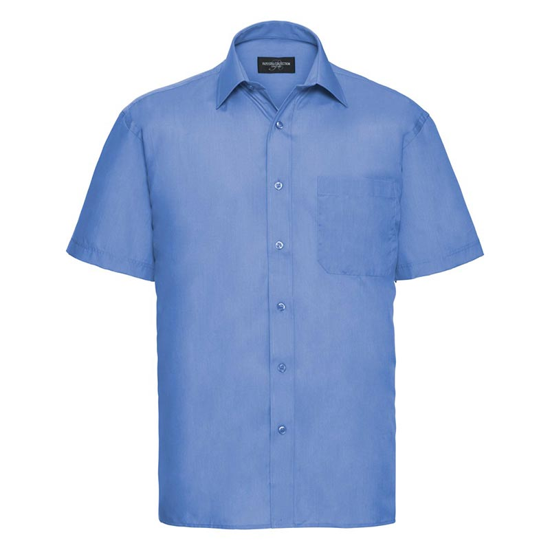 110g 65/35PC Mens Easy Care Poplin Shirt Short-Sleeve - JSHA935-corporate-blue
