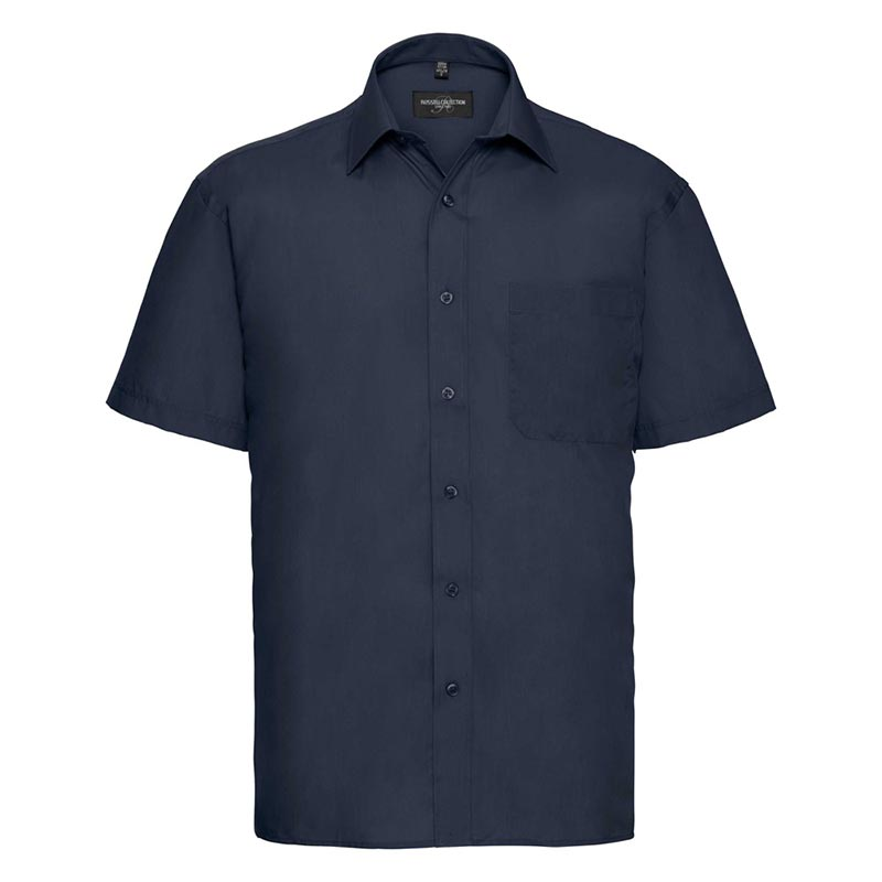 110g 65/35PC Mens Easy Care Poplin Shirt Short-Sleeve - JSHA935-french-navy