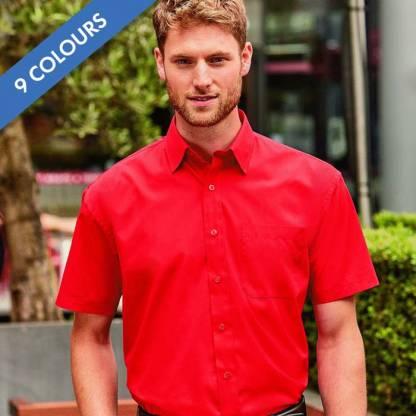 110g 65/35PC Mens Easy Care Poplin Shirt Short-Sleeve - JSHA935