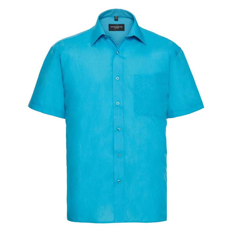 110g 65/35PC Mens Easy Care Poplin Shirt Short-Sleeve - JSHA935-turquoise