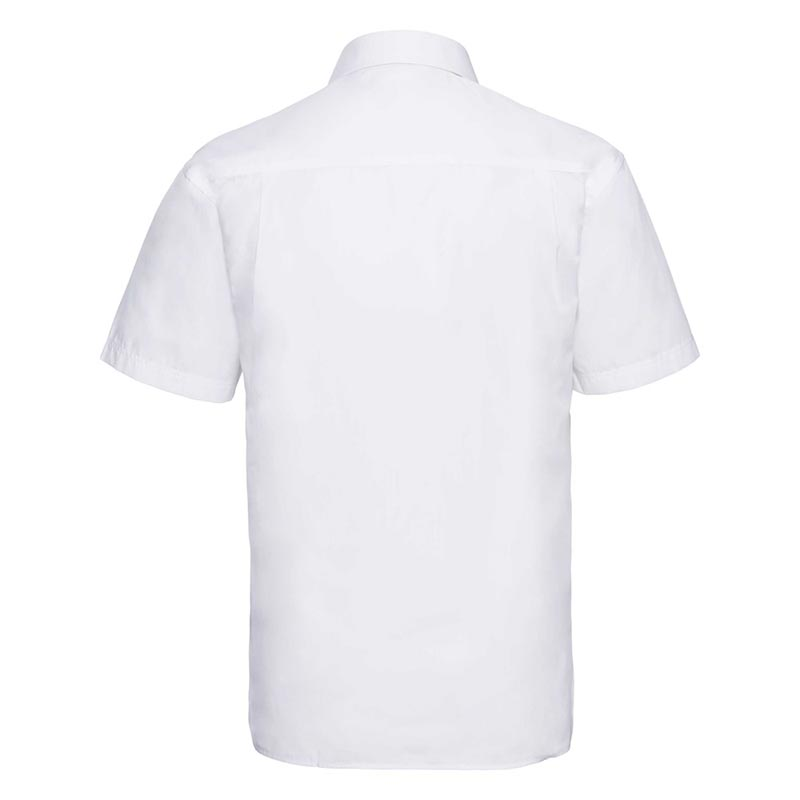 110g 65/35PC Mens Easy Care Poplin Shirt Short-Sleeve - JSHA935-white-back