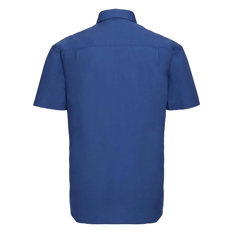 125g Pure Cotton Easy Care Poplin Shirt Short Sleeve - JSHA937-aztec-blue-back