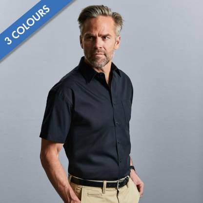 125gᅠ Mens Pure Cotton Easy Care Poplin Shirt Short Sleeve - JSHA937
