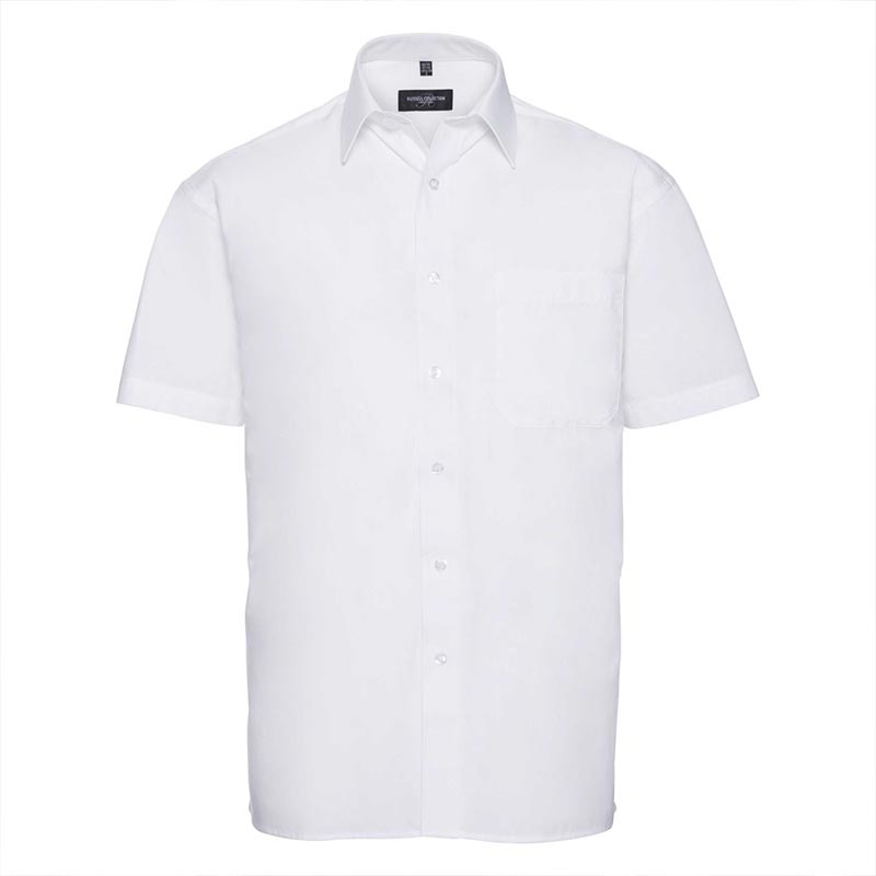 125g Pure Cotton Easy Care Poplin Shirt Short Sleeve - JSHA937-white
