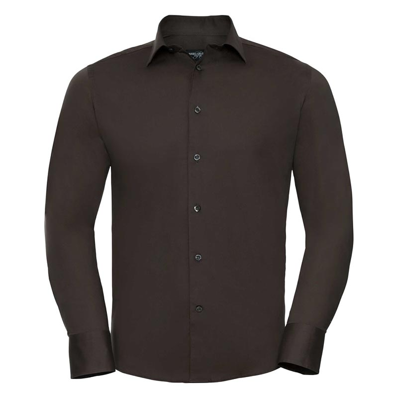 140g Mens Easy-Care Cotton-Stretch Long Sleeve Fitted Shirt - JSHA946-chocolate