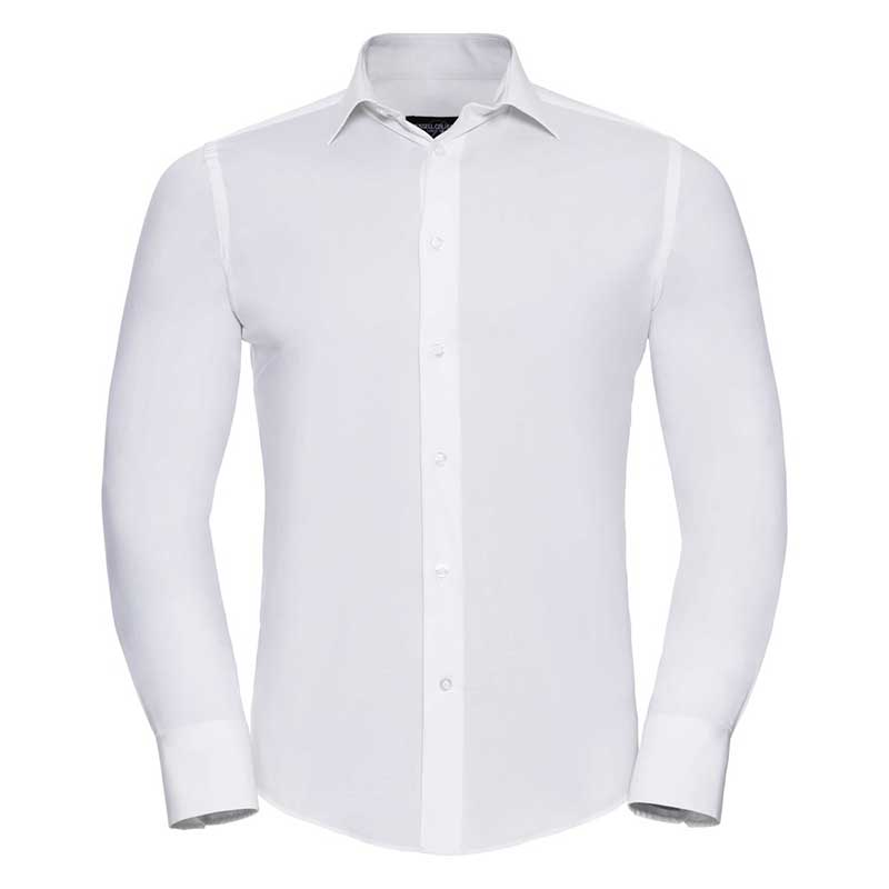 140g Mens Easy-Care Cotton-Stretch Long Sleeve Fitted Shirt - JSHA946-white