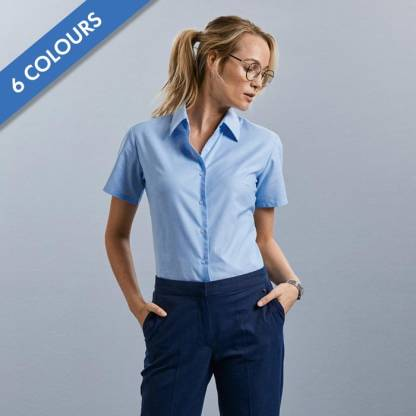 130g 70/30 CP Ladies Easy-Care Oxford Blouse Short Sleeve - JSHL933