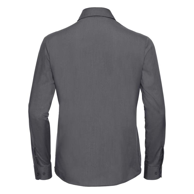 110g 65/35 PC Ladies Easy Care Poplin Shirt Long Sleeve - JSHL934-convoy-grey-back