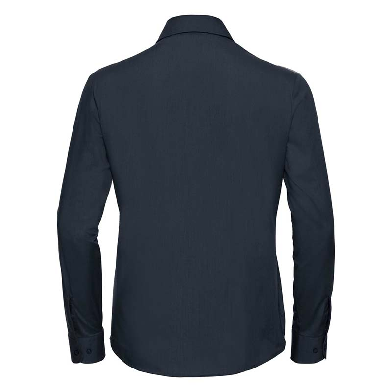 110g 65/35 PC Ladies Easy Care Poplin Shirt Long Sleeve - JSHL934-french-navy-back
