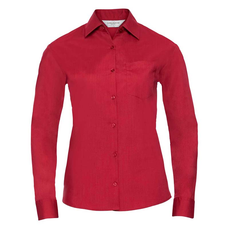 110g 65/35 PC Ladies Easy Care Poplin Shirt Long Sleeve - JSHL934-red