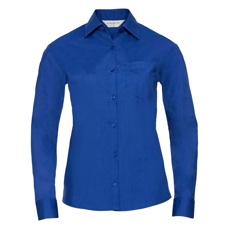 110g 65/35 PC Ladies Easy Care Poplin Shirt Long Sleeve - JSHL934-royal