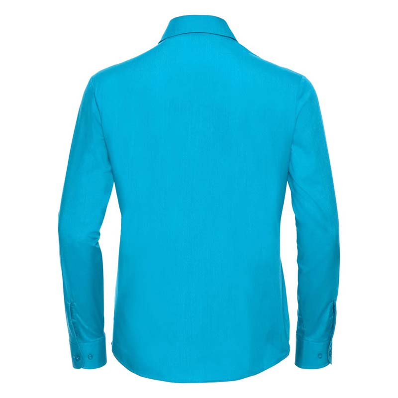110g 65/35 PC Ladies Easy Care Poplin Shirt Long Sleeve - JSHL934-turquoise-back