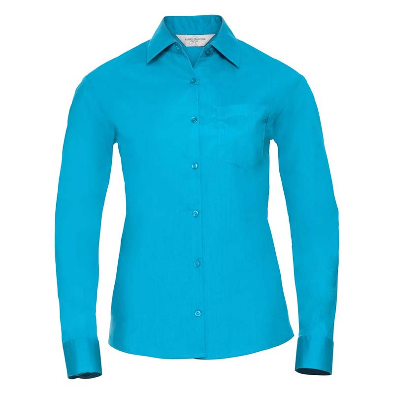 110g 65/35 PC Ladies Easy Care Poplin Shirt Long Sleeve - JSHL934-turquoise