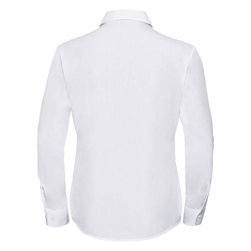 110g 65/35 PC Ladies Easy Care Poplin Shirt Long Sleeve - JSHL934-white-back