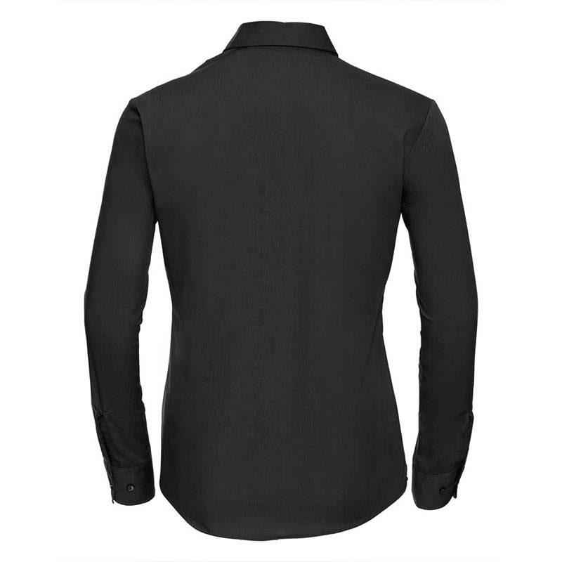 125g Ladies Pure Cotton Easy Care Poplin Shirt Long Sleeve - JSHL936-black-back