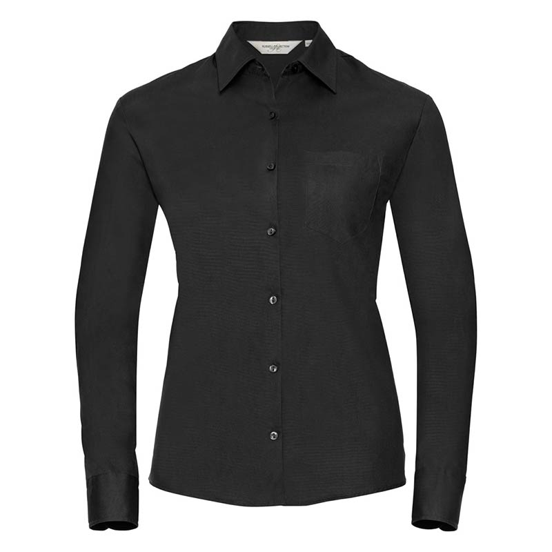 125g Ladies Pure Cotton Easy Care Poplin Shirt Long Sleeve - JSHL936-black-front