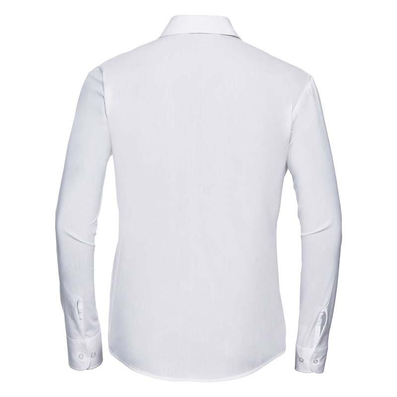 125g Ladies Pure Cotton Easy Care Poplin Shirt Long Sleeve - JSHL936-white-back