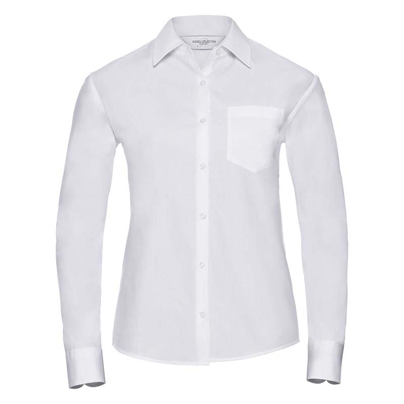 125g Ladies Pure Cotton Easy Care Poplin Shirt Long Sleeve - JSHL936-white