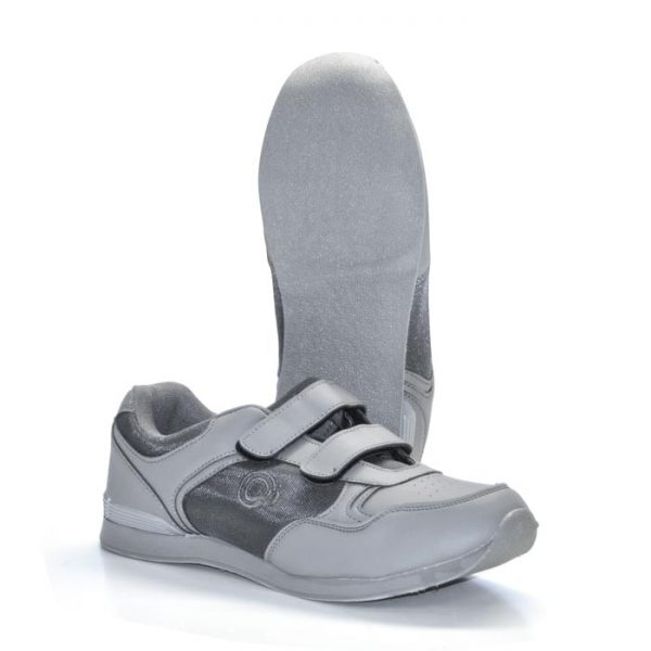 'Drive' Touch Fastening Trainer-Style Mens Bowling Shoes-PFOA837-GREY