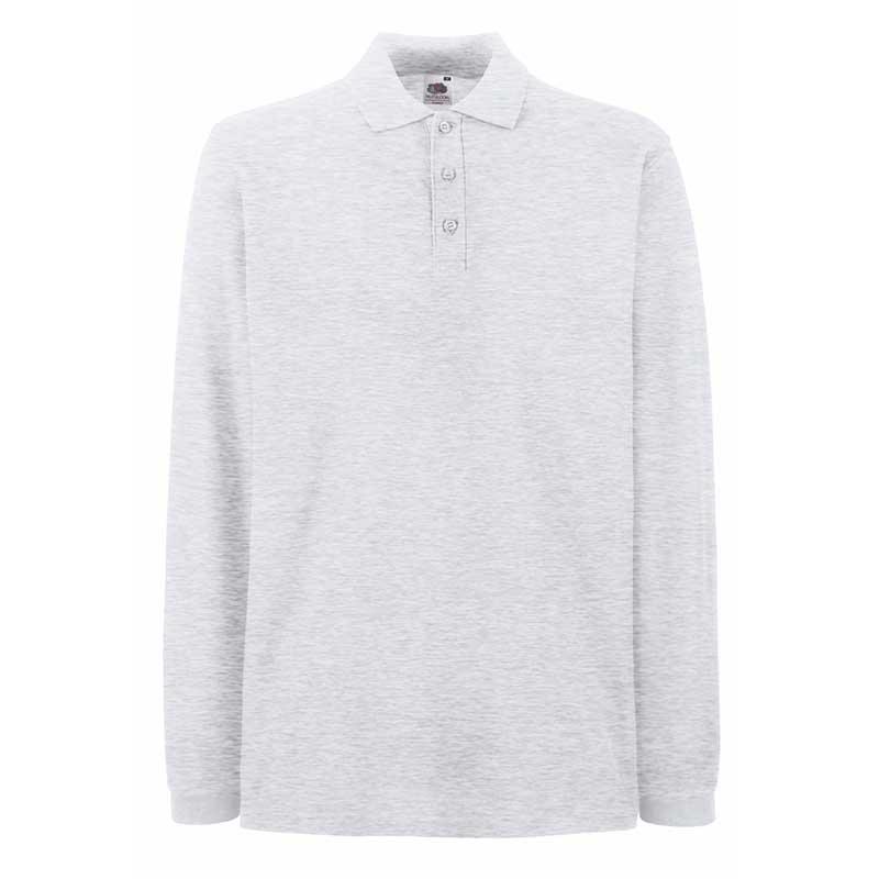 180gsm 100% Cotton Long Sleeve Premium Polo Shirt - SPLPA-ash-grey