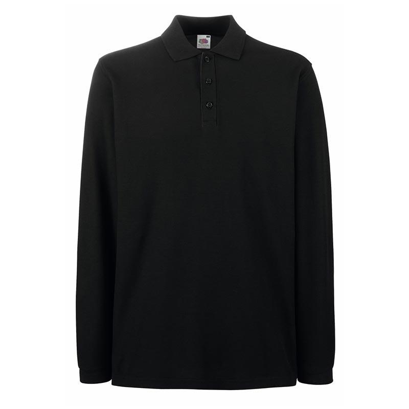 180gsm 100% Cotton Long Sleeve Premium Polo Shirt - SPLPA-black