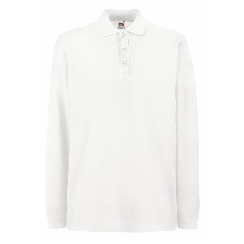180gsm 100% Cotton Long Sleeve Premium Polo Shirt - SPLPA-white