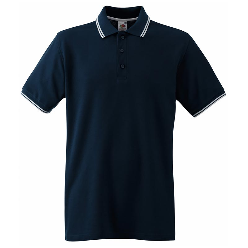 180gsm 100% Cotton Contrast Premium Tipped Polo Shirt - SPTA-dark-navy-white