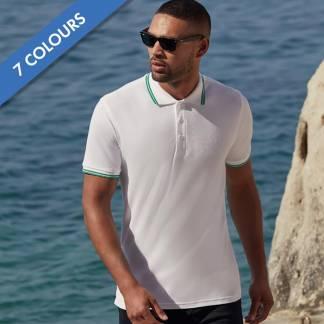180gsm 100% Cotton Contrast Premium Tipped Polo Shirt - SPTA