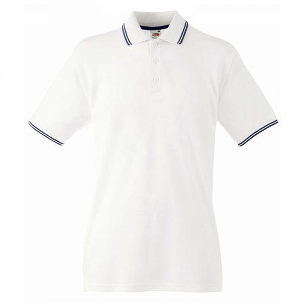 180gsm 100% Cotton Contrast Premium Tipped Polo Shirt - SPTA-white-dark-navy