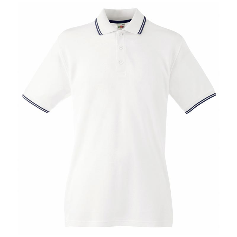 180gsm 100% Cotton Contrast Premium Tipped Polo Shirt - SPTA-white-dark-navy