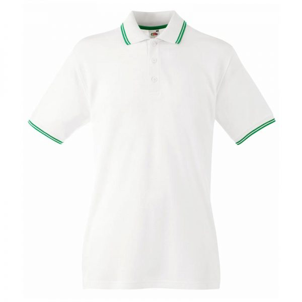 180gsm 100% Cotton Contrast Premium Tipped Polo Shirt - SPTA-white-kelly